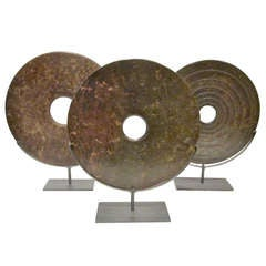 Chinese Set of 3 Speckled Jade Discs