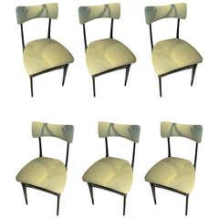 Set Of Six Italian 1960's Dining Chairs