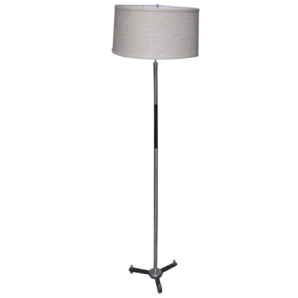 Mid century chrome and black metal floor lamp france for for Mayer floor lamp black chrome