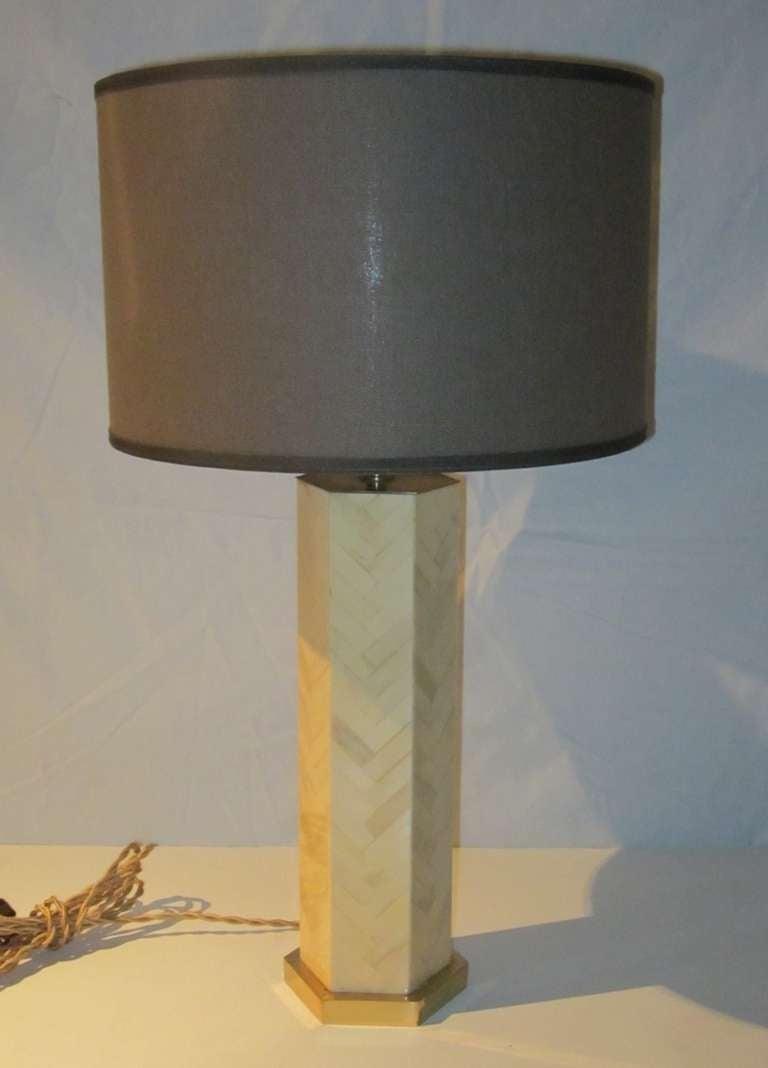 1970s Italian faux bone hexagon herringbone pattern lamp. The custom brown linen shade is 14