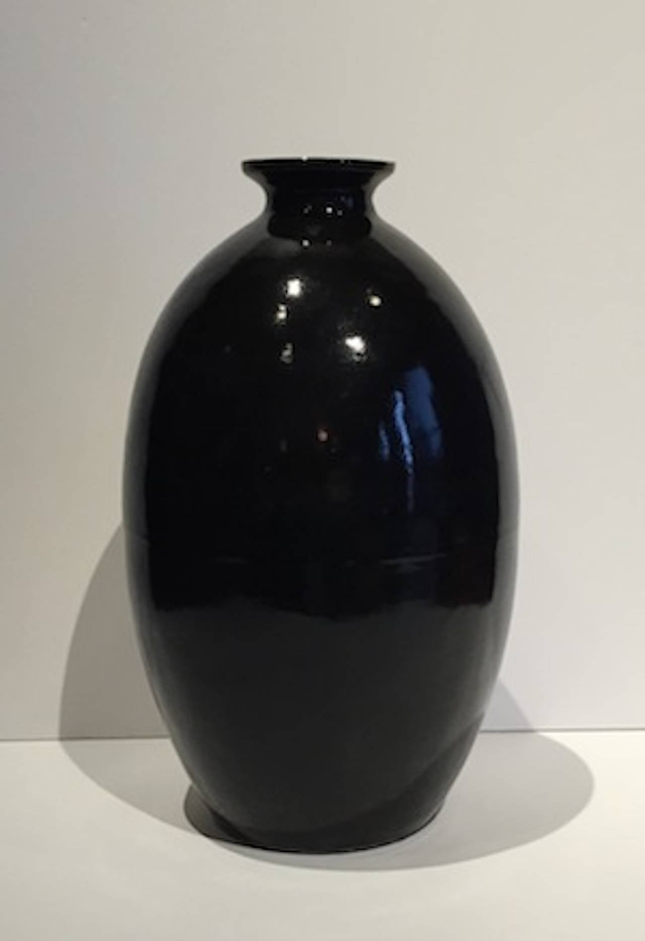Collection of Extra Large High Gloss Black Vases, China, Contemporary In Excellent Condition For Sale In New York, NY