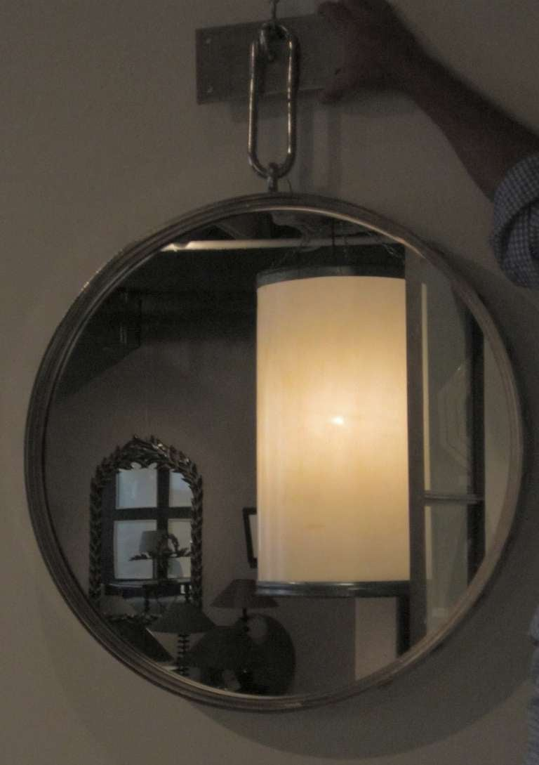 Industrial Nickel Plated Round Wall Mirror With Rivet