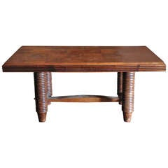 Ribbed Round Leg Desk/Dining Table, France, 1940s