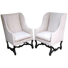 French Pair of Os D' Mouton Club Chairs, circa 1720