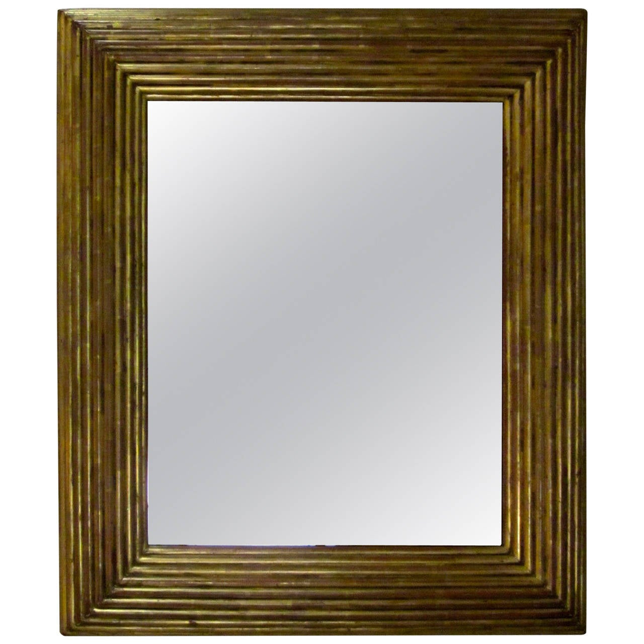 Spanish Gold Gilt Ribbed Wood Frame Mirror, circa 19th Century For Sale