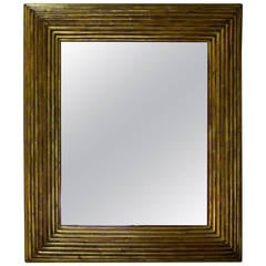 Spanish Gold Gilt Ribbed Wood Frame Mirror, circa 19th Century