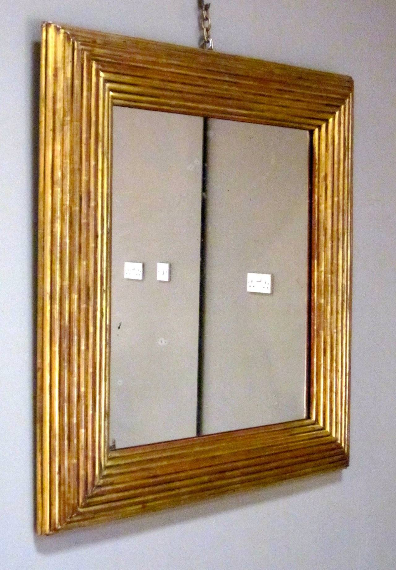 Spanish Gold Gilt Ribbed Wood Frame Mirror, circa 19th Century For Sale 1