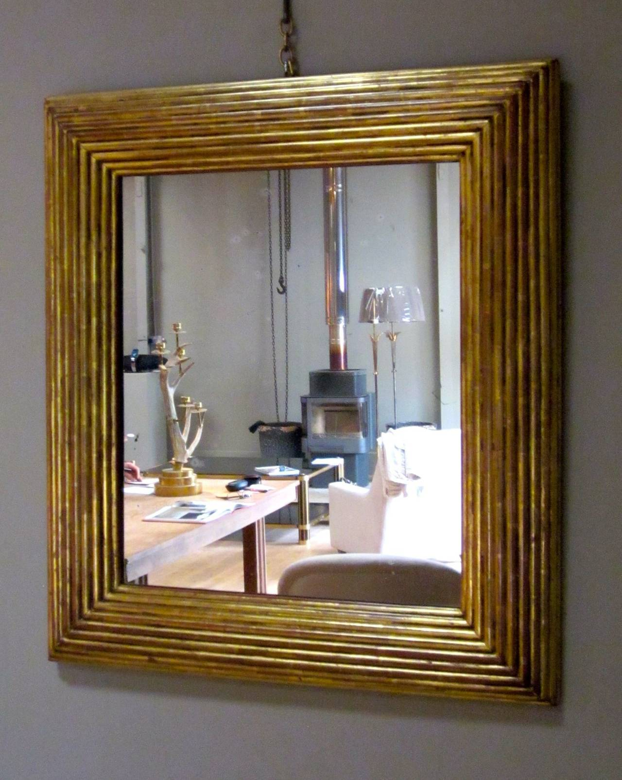 Spanish Gold Gilt Ribbed Wood Frame Mirror, circa 19th Century In Excellent Condition For Sale In New York, NY