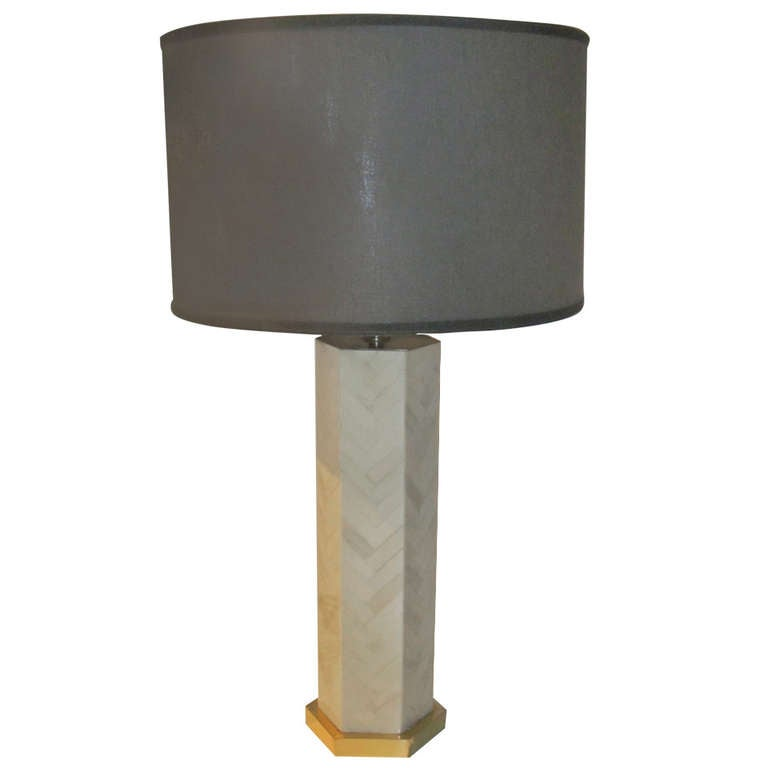 1970s Italian Faux Bone Table Lamp For Sale