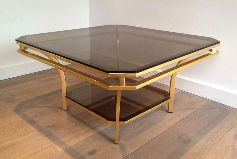 1970s Square Coffee Table-Smoked Glass and Brass, France For Sale 1
