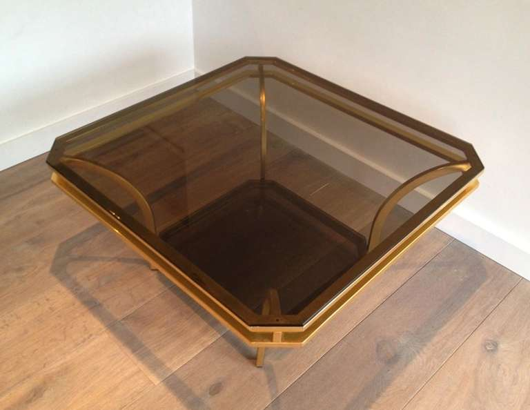 French 1970s Square Coffee Table-Smoked Glass and Brass, France For Sale