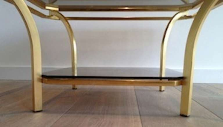 Late 20th Century 1970s Square Coffee Table-Smoked Glass and Brass, France For Sale