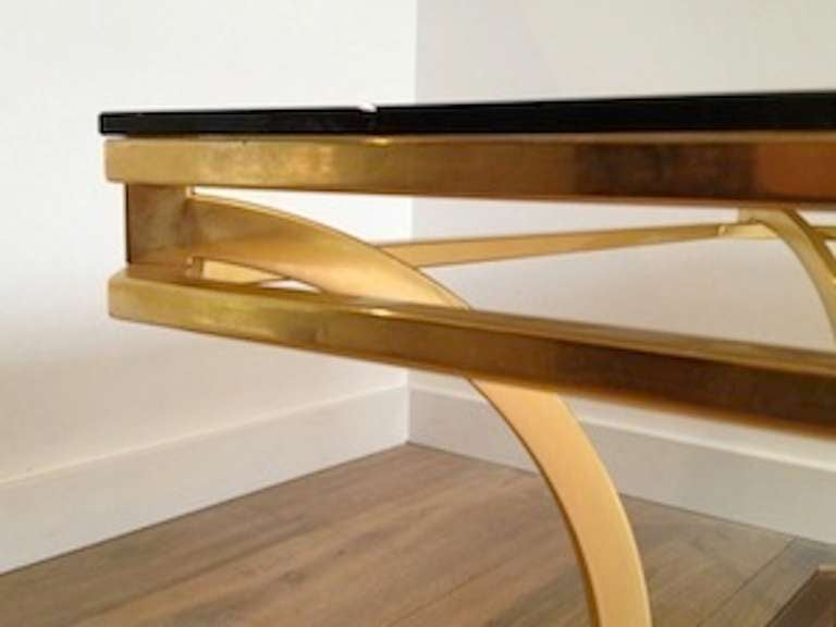 1970s Square Coffee Table-Smoked Glass and Brass, France For Sale 3