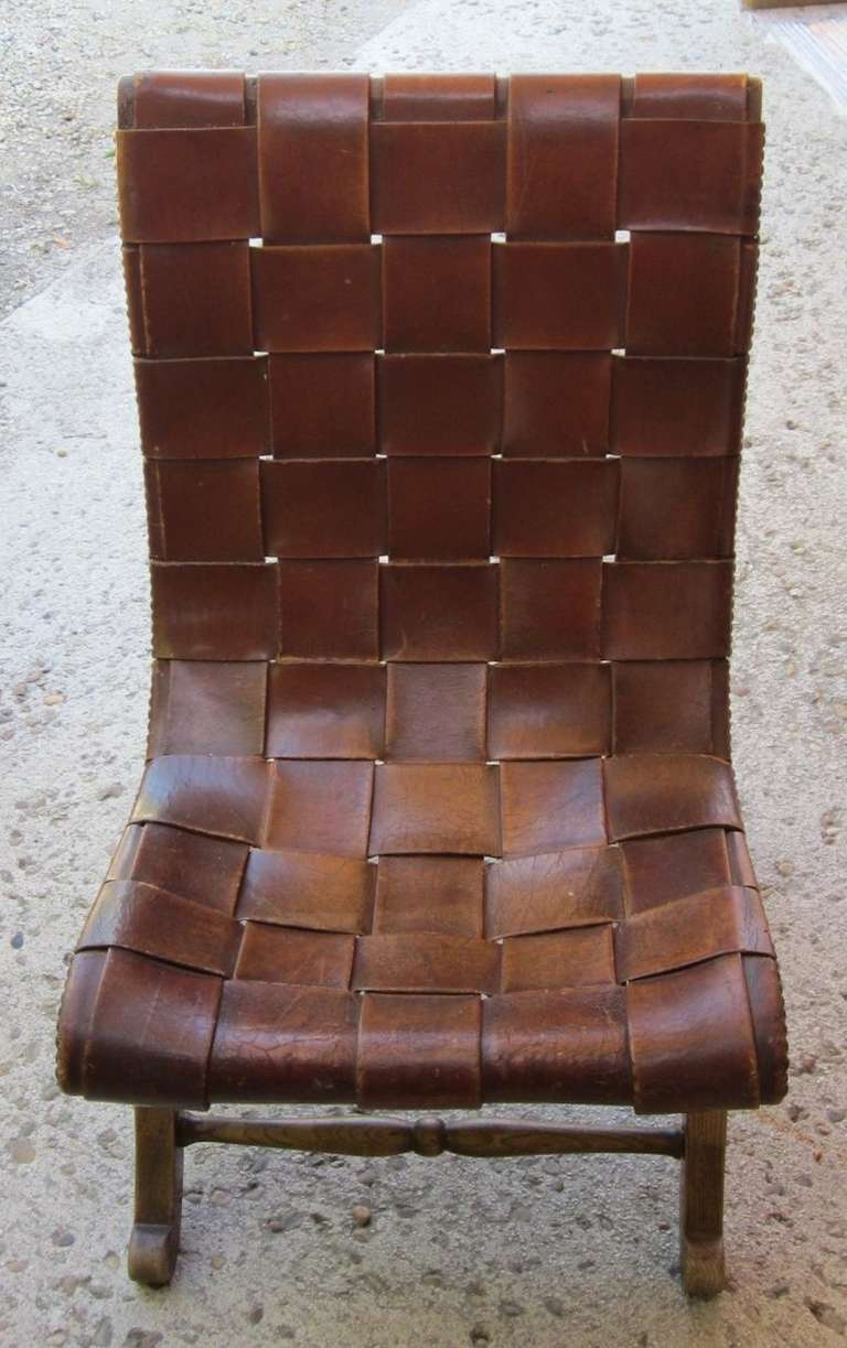 1940 s Spanish Valenti Woven Leather Chair at 1stdibs