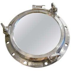 1940s Aluminum Round Ship Mirror, France