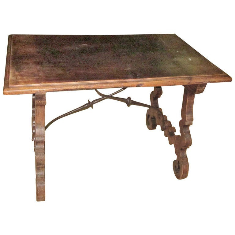 19th Century Italian Walnut Side Table with Iron Cross Bar Base For Sale