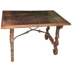 19th Century Italian Walnut Side Table with Iron Cross Bar Base