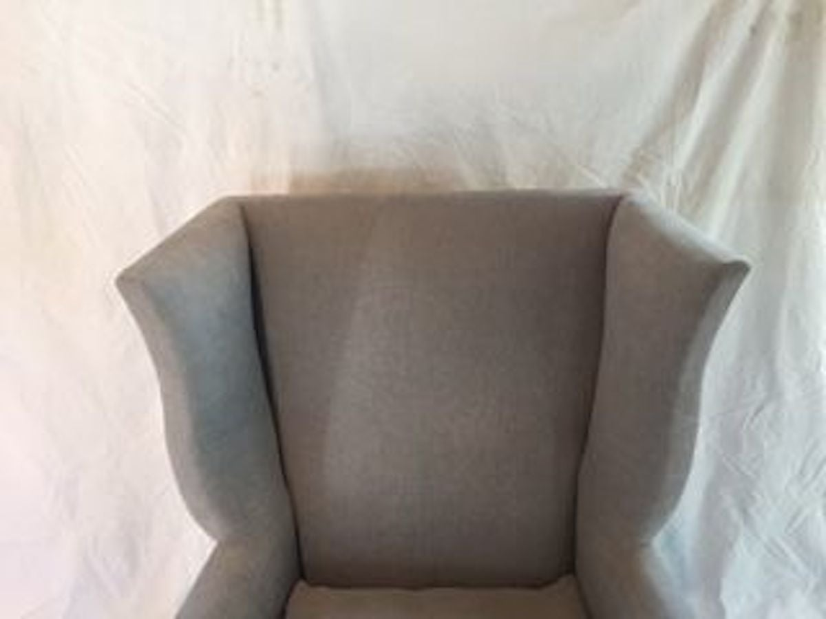 English Style Upholstered Pair of Grey Wing Back Armchairs, Contemporary For Sale 4