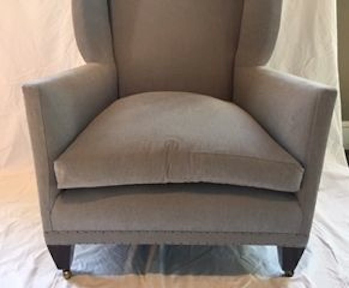 English Style Upholstered Pair of Grey Wing Back Armchairs, Contemporary For Sale 5