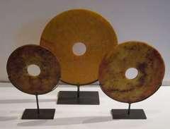 Orange Jade Set of Three Discs, China, Contemporary