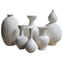 Cream Handmade Sculptural Shapes Terra Cotta Vases, China, Contemporary