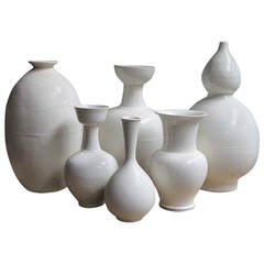 Sculptural Cream Terra Cotta Vases, Contemporary