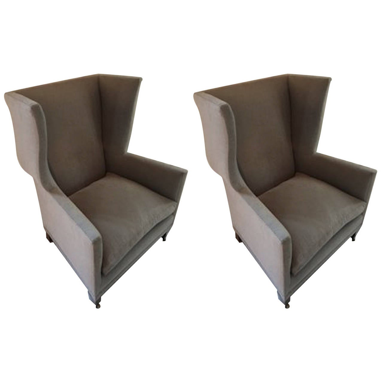 Lovely English Style Upholstered Pair Of Grey Wing Back Armchairs, Contemporary 1