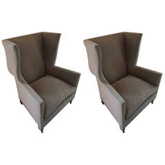 English Style Upholstered Pair of Grey Wing Back Armchairs, Contemporary