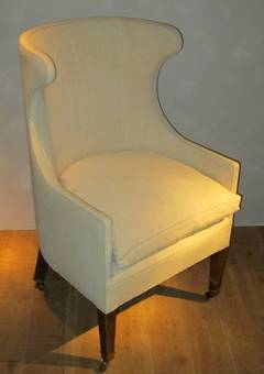 Pair Of Custom High Back Wing Chairs