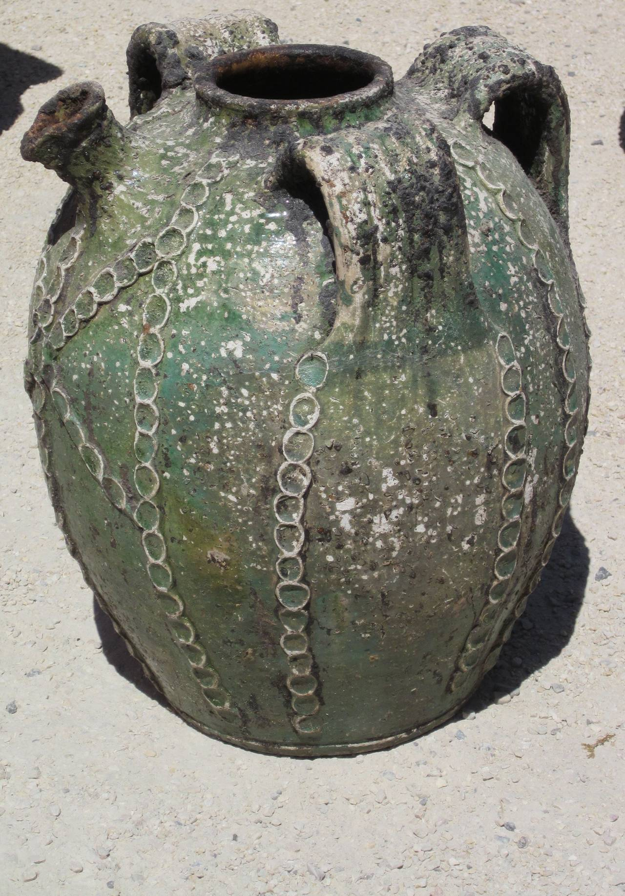 19th Century Textured Green Jug with Handles and Spout, France 2