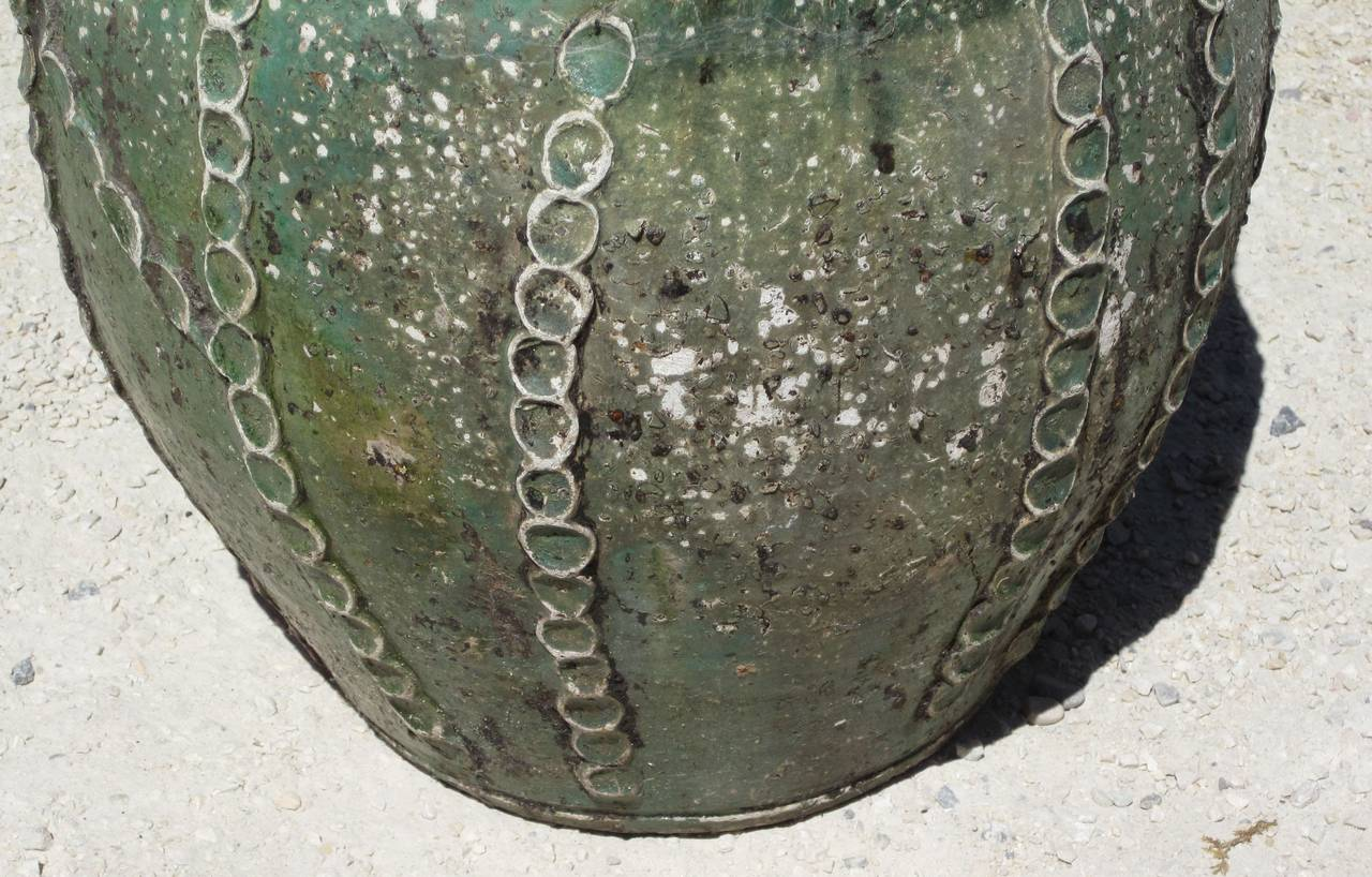 19th Century Textured Green Jug with Handles and Spout, France 4