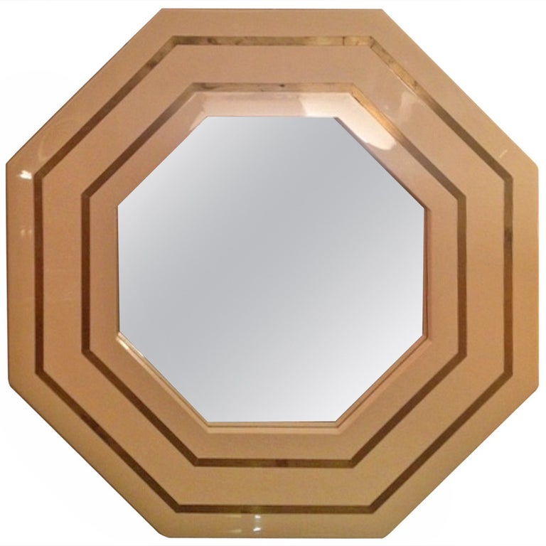 1970s Octagonal Cream and Brass Inlay Lucite Mirror, France For Sale