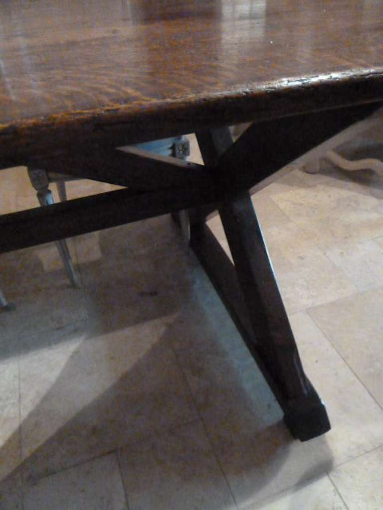 English Oak Wood Wide Plank Dining Table Circa Late 18th