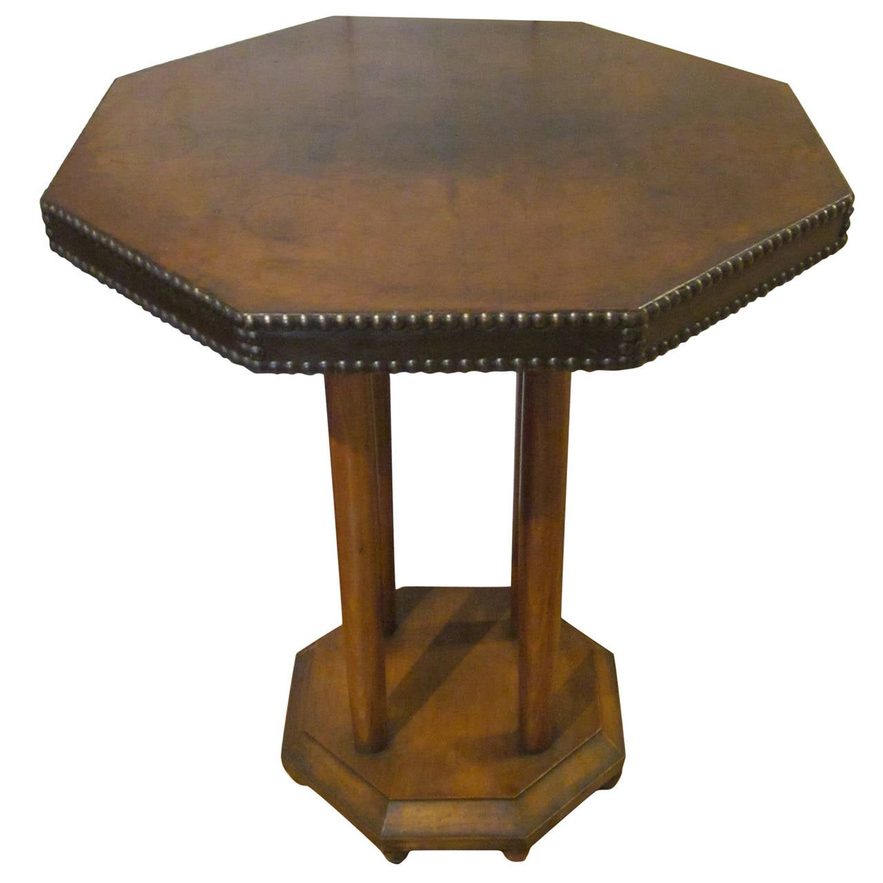 Leather Top Brown Octagonal Side/End Table, England, 1920s 1