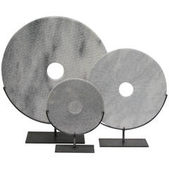 Set of Three Chinese Contemporary Stone Disc Sculptures