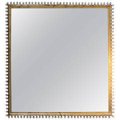 Gold Gilt Square Looped Border Mirror, France, 1950s