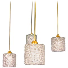 1960s Crystal Textured Pendant Lamps, Set of Four, Italy