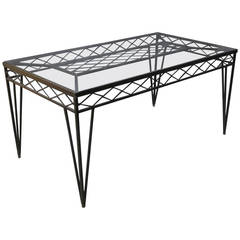 Circa 1940s Wrought Iron Rectangular Dining Table, France