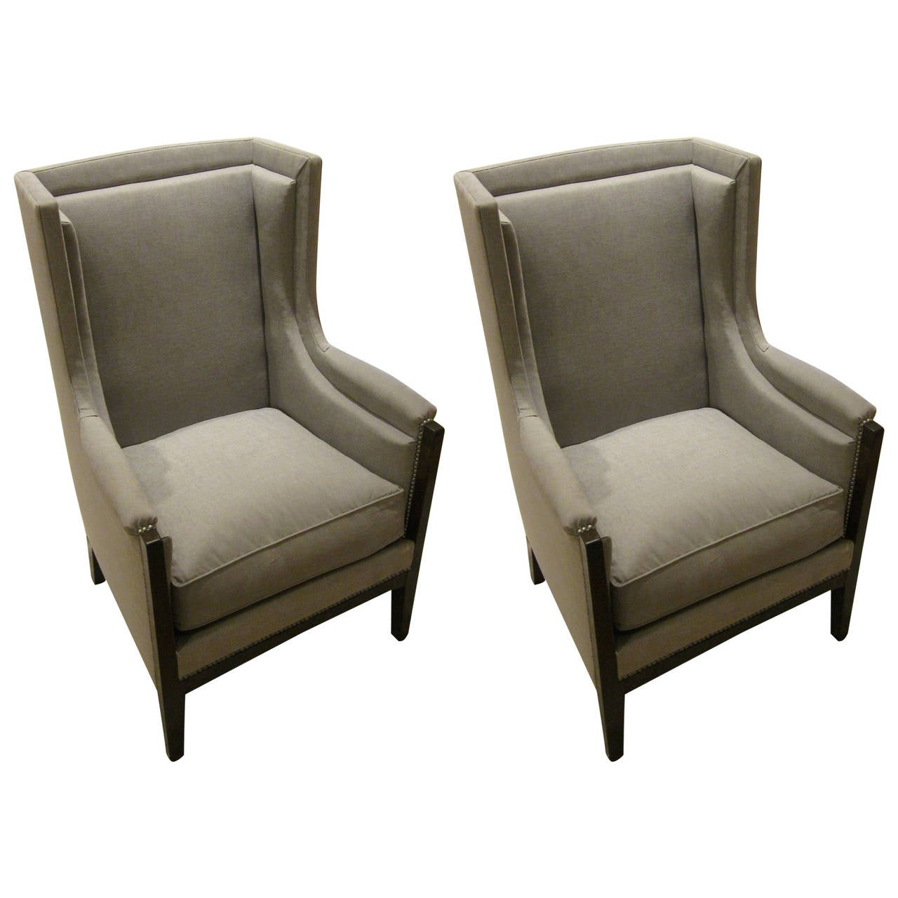 Pair of French Upholstered Grey Club Chairs, 1940s