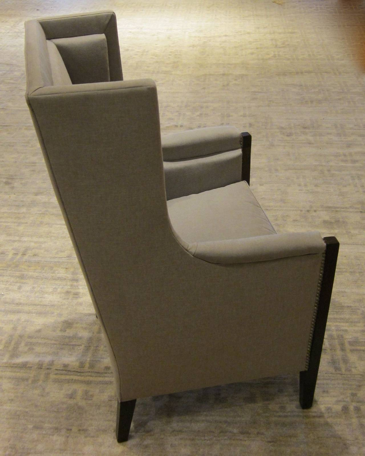Mid-20th Century Pair of French Upholstered Grey Club Chairs, 1940s For Sale