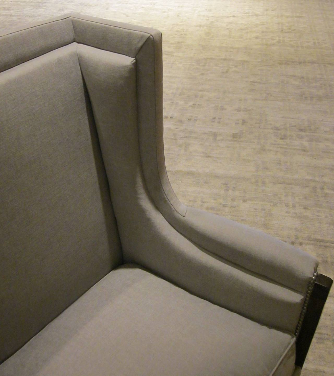 Pair of French Upholstered Grey Club Chairs, 1940s For Sale 1