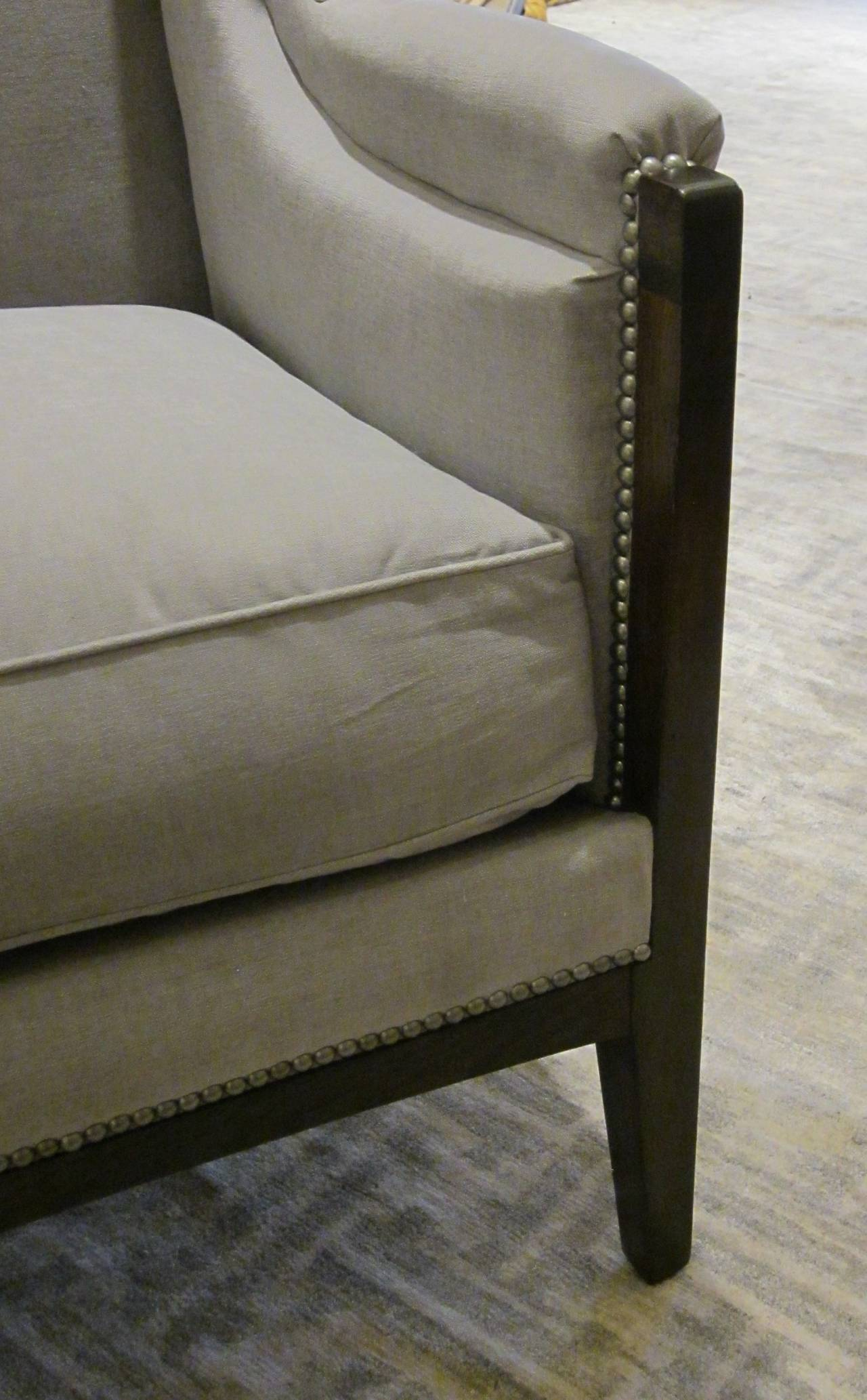 Pair of French Upholstered Grey Club Chairs, 1940s For Sale 2
