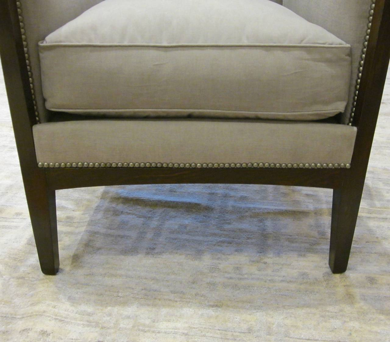 Upholstery Pair of French Upholstered Grey Club Chairs, 1940s For Sale