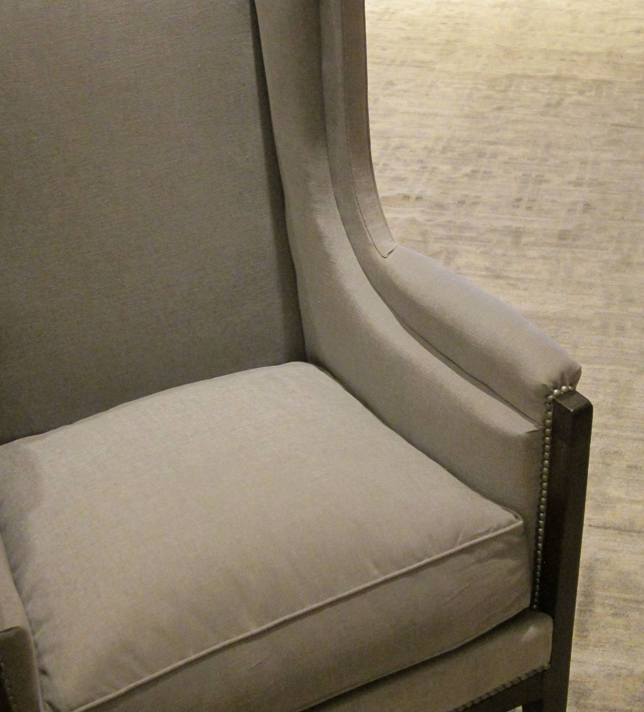 Pair of French Upholstered Grey Club Chairs, 1940s For Sale 3