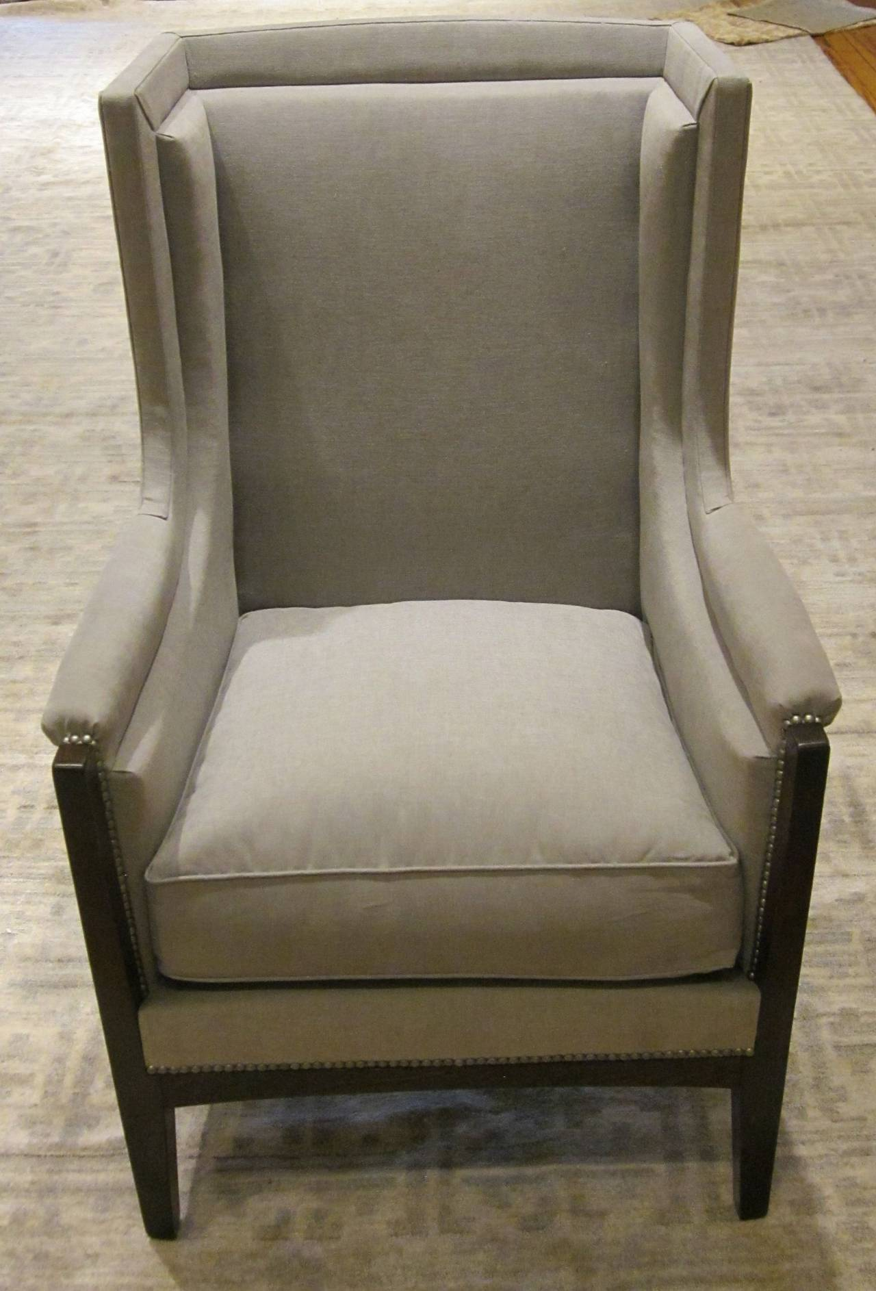Pair of French Upholstered Grey Club Chairs, 1940s For Sale 4