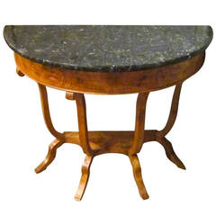 19th Century Black Marble Top Burl Wood Demi Lune, France
