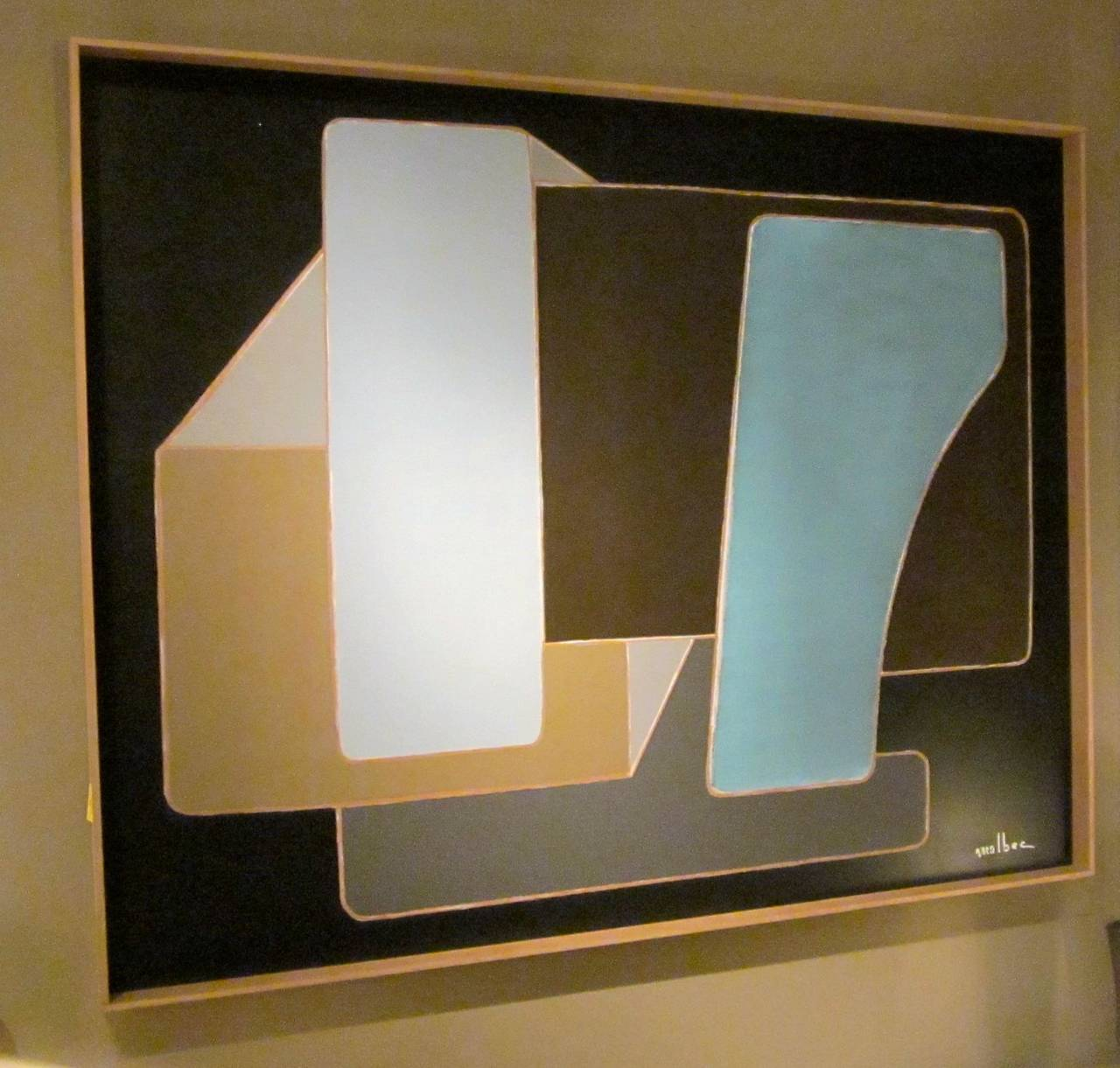Large horizontal abstract painting, black ground with grey/brown/tan and light blue by contemporary French artist Pierre Malbec.