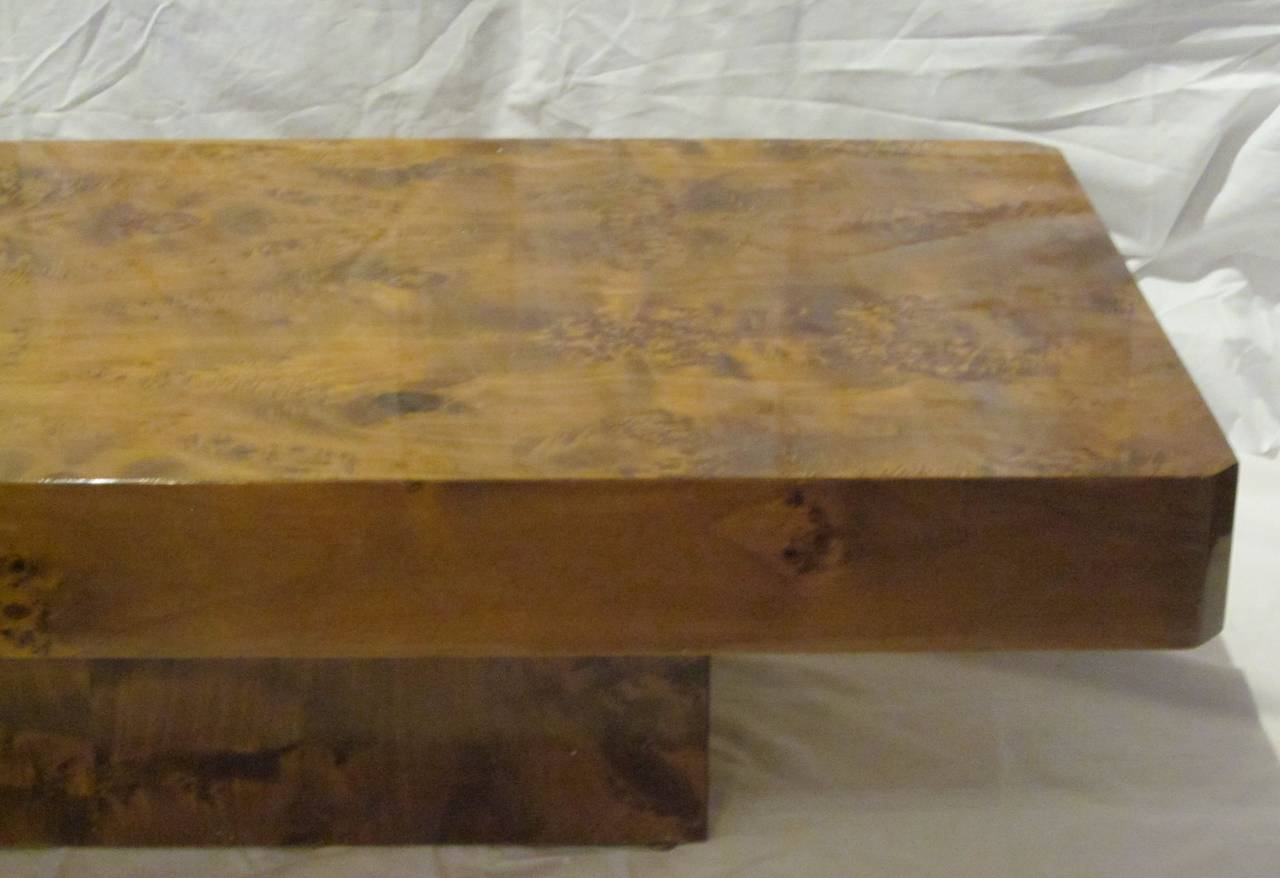 Burl Wood Lacquered Brown Rectangular Coffee Table France