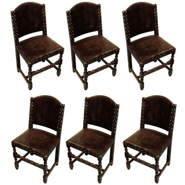 Set of 6 French Leather Dining Chairs at 1stdibs : 888693l from www.1stdibs.com size 768 x 768 jpeg 67kB
