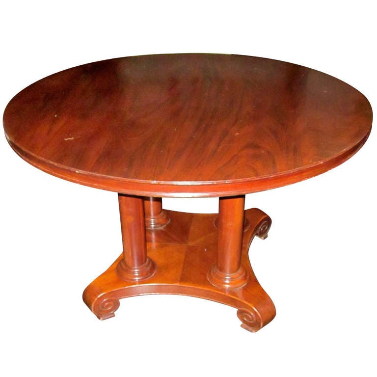 19th century round mahogany center hall or side table for Table th center css